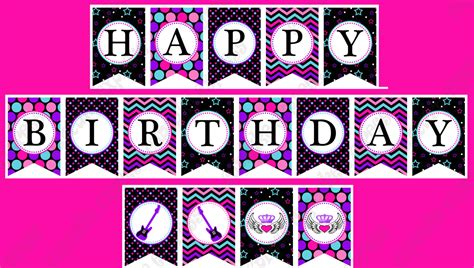free printable birthday banner purple rockstar girl birthday banner printable party hot pink teal