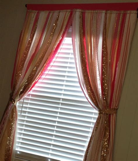 bling curtain rods gold sequin with pink ivory white ribbon garland
