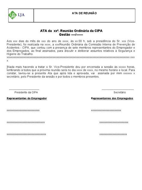 Ata de Reunião da CIPA ( Modelo)