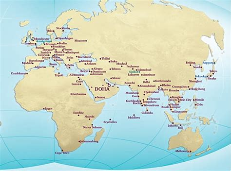 middle east map doha best qatar award flights bookable with united