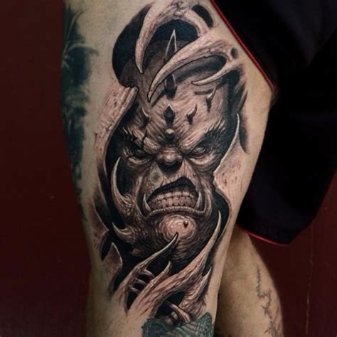 demon girl tattoo designs scary 3d on thigh tattoos
