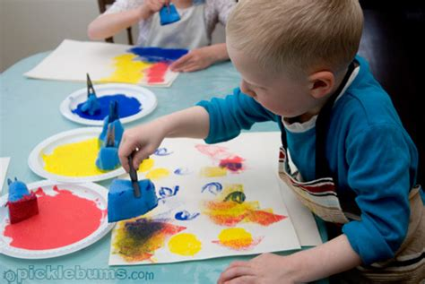 painting toddlers easy for sponge printing picklebums