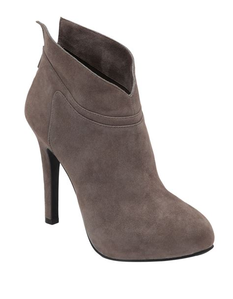 gray boots aggie leather high heel ankle boots in