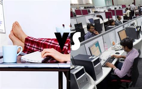 difference between working from home vs working in office