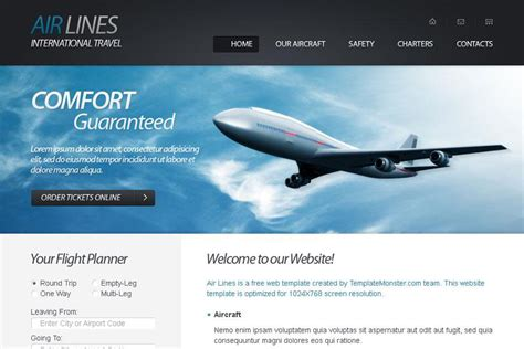 Free Html5 Website Template For Airlines Company Monsterpost Airline Website Template