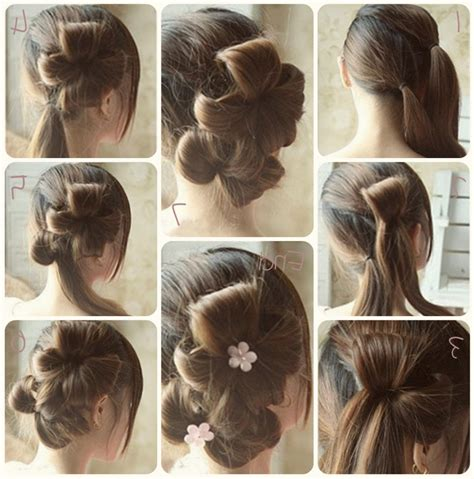 hair style step by step pic hair style step by by image flower bun hair style tutorial