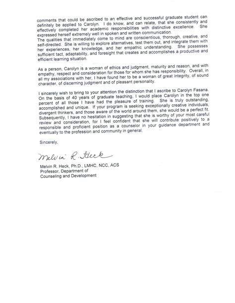 College Letter Of Recommendation Sle From Guidance Counselor Letters Of Recommendation Carolyn O Fasana Professional School Counseling Portfolio