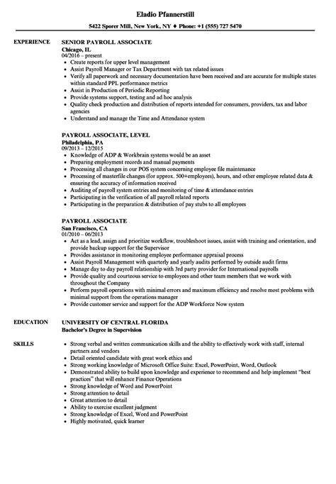 Payroll Resume by Payroll Associate Resume Sles Velvet