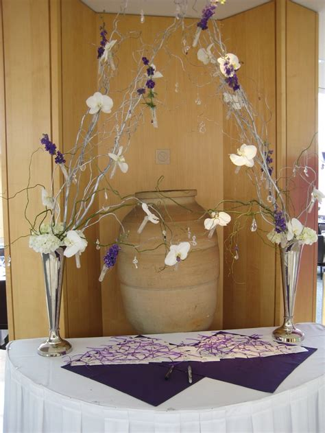 purple wedding guest book table grown up