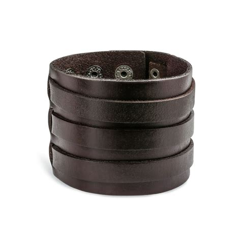 leather cuffs for jewelry stainless steel brown leather cuff bracelet 8 5in