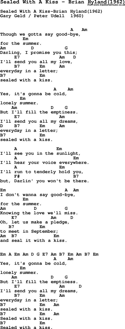 love theme from kiss tab song sealed with a kiss by brian hyland 1962 with lyrics
