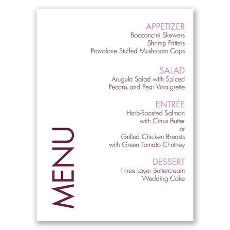 Buffet Cards Template Simple by Sweet And Simple Menu Card Invitations By