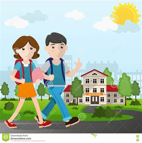 Boy And Girl Going To School Stock Vector Image 75550433 Picture Of Boy And Free
