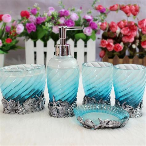bathroom accessories ocean blue bath sets resin accessory