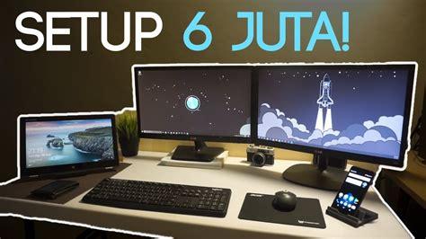 Meja Komputer Set setup multi device multi monitor wireless budget 6 juta