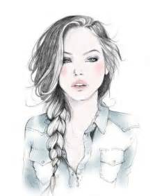 sketches of hair girl with braided hair drawing artsy fartsy pinterest