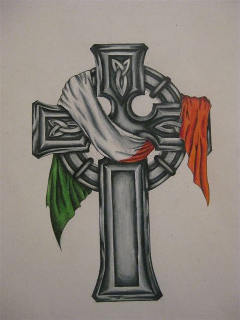 irish flag tattoo celtic cross with the flag the