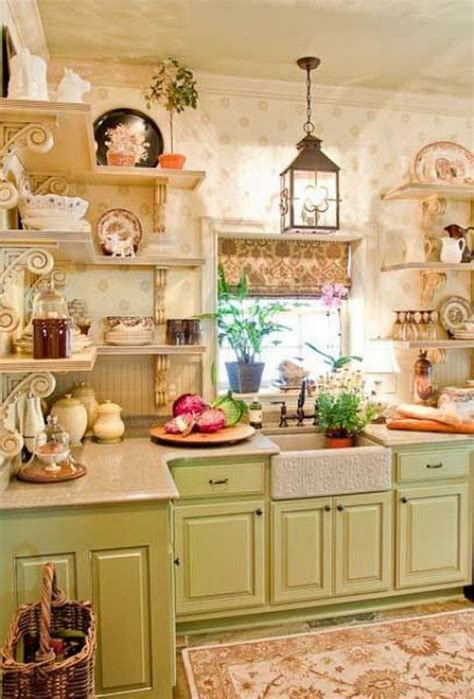 kitchens with shelves green green cabinets and open shelving with beautiful wallpaper