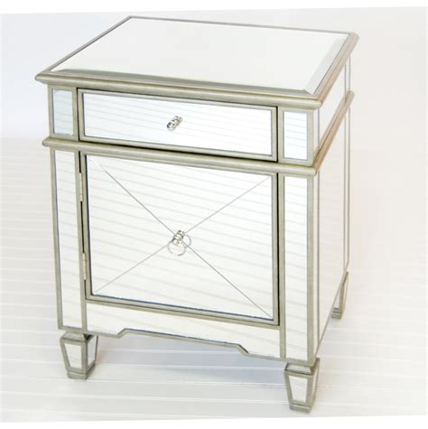 mirrored accent tables mirrored end table with drawers home design ideas
