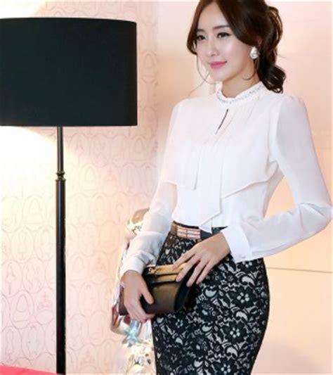 blouse putih lengan panjang model terbaru jual murah