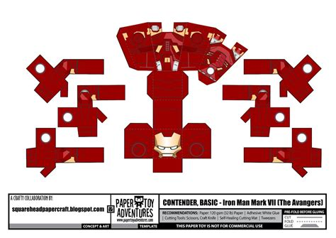 Ironman Papercraft - square papercraft iron vii the