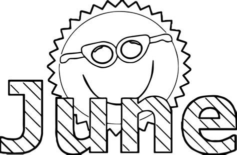 june color summer sun paage coloring pages