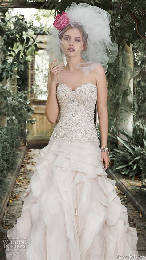 Hq 5421 Pearl Lace Strapless Dress Pink maggie sottero fall 2015 wedding dresses wedding inspirasi