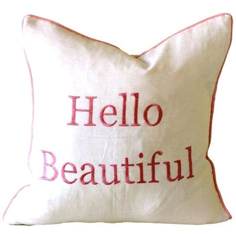 Hello Handsome Pillow by Hello Beautiful Pillow In Pink Cushions