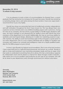 professional mba recommendation letter sle