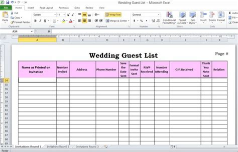 Wedding guest list in excel anyone getting married pinterest