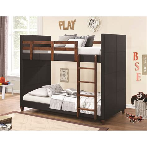 coaster bunks twin  twin bunk bed  black leatherette  city furniture bunk beds