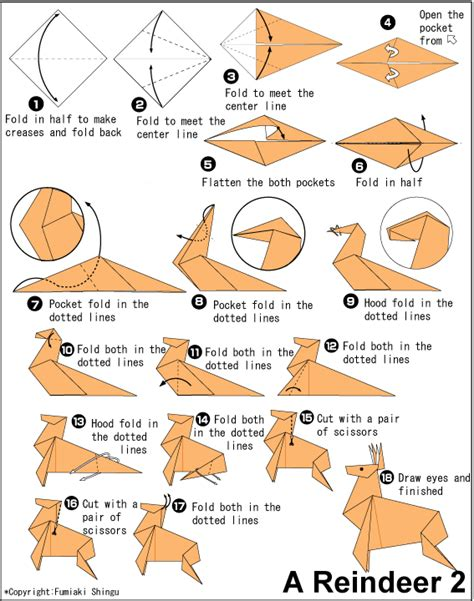 How To Make A Paper Reindeer - origami deer craft ideas