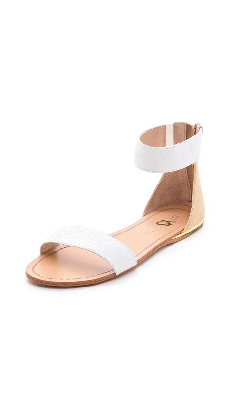 flat shoes white yosi samra cambelle flat sandals blackmisty in white