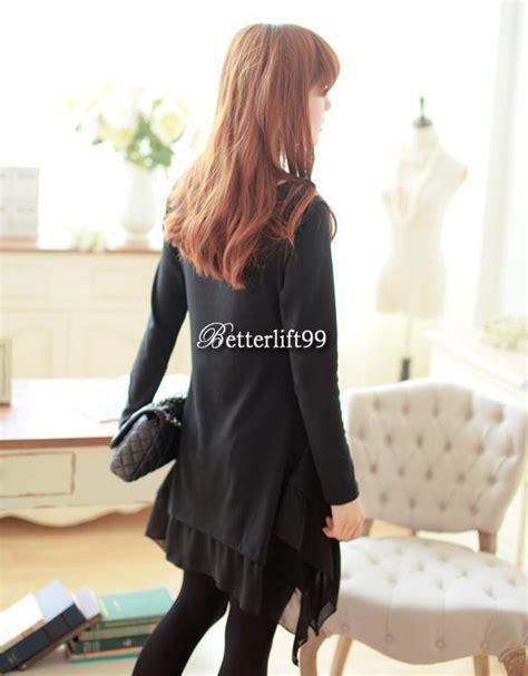 Hem Asia Black dress sleeve irregular hem swing pullover