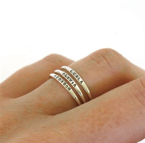 Wedding Rings With Name by Stackable Name Ring Dainty Name Ring Personalized Ring With