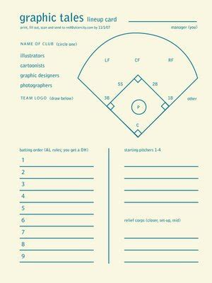 free line card template softball lineup printable big baseball softball and