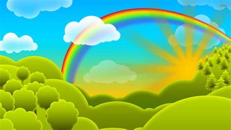 wallpaper cartoon vetor rainbow over the hills wallpaper vector wallpapers 411