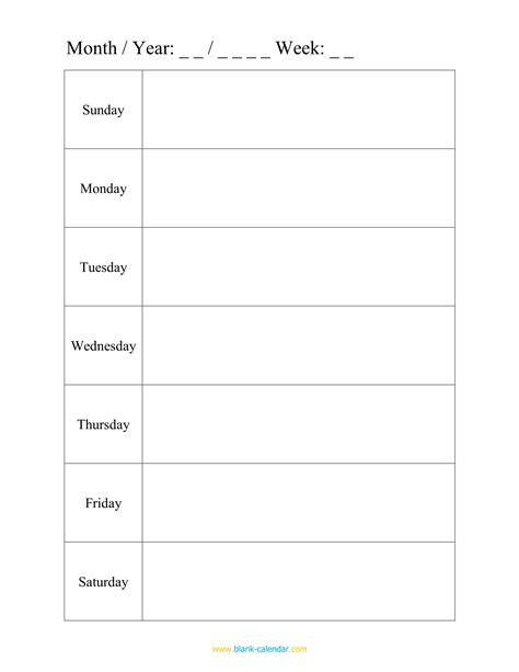 weekly calendar 2016 for word 12 free printable templates one week