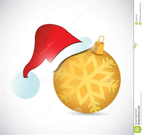 christmas ornament and hat illustration design stock photo