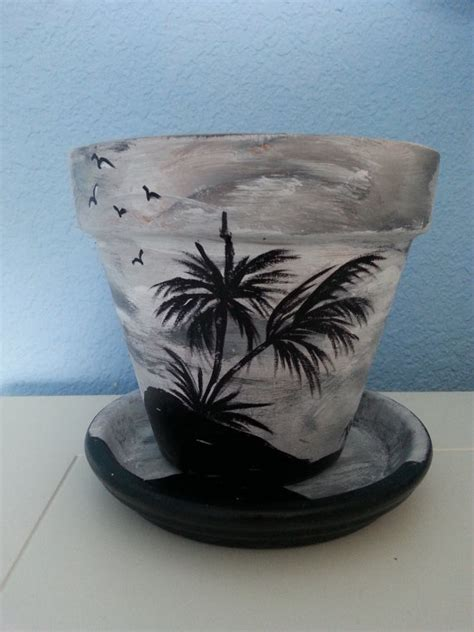 Painted Planter Pots by Painted Flower Pot Saucer 6 Tropical