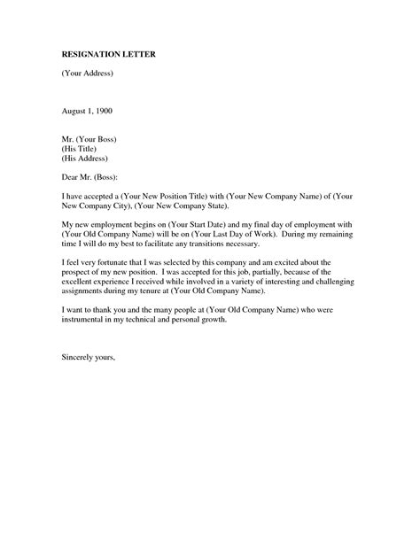 resignation letter format excellent resigning from a job