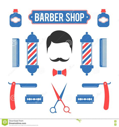 colors barber shop composition of the set of icons for barber shop stock