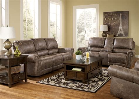 Oberson Gunsmoke Reclining Living Room Set From Ashley Reclining Living Room Sets
