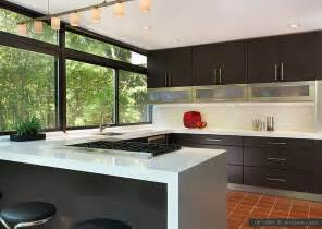 Contemporary Kitchen Backsplashes by Modern Brown Cabinets Marble Glass Backsplash Tile Idea