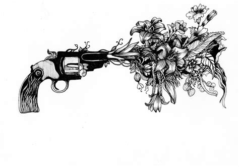 tattoo flower gun gun flower on behance