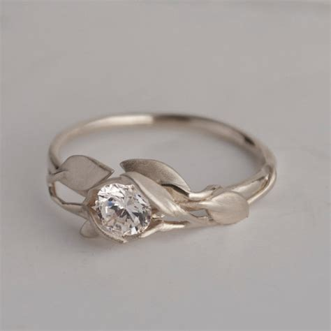 Wedding Rings Leaves by Leaves Engagement Ring No 6 Platinum And