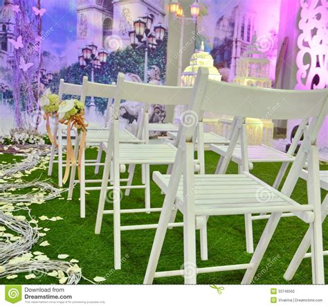 Wedding Ceremony Chair Setup by White Chairs Stock Photography Image 33746562