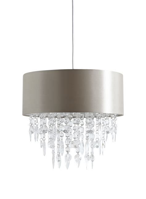 Easy Fit Ceiling Light Shades Large 400mm Easy Fit Ceiling Light Shade Mocha With Acrylic Droplets Bhs Jemima Ebay