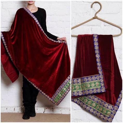 Pasmina Velvet Vip 2 buy maroon semi velvet shawl