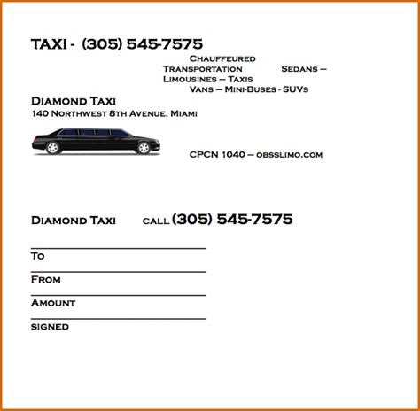 limo receipt template 8 taxi receipt template authorizationletters org